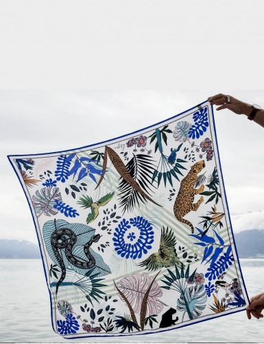Tangalle blue square scarf - front