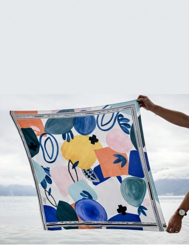 Tulum blue square scarf - front