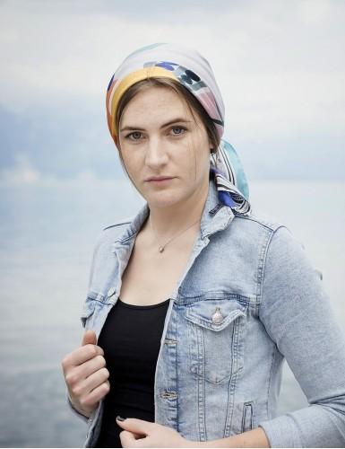 Tulum blue square scarf - head