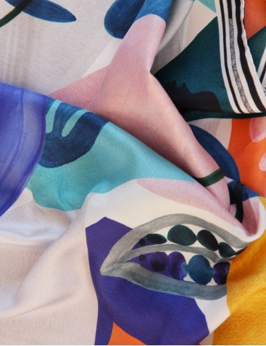 Tulum blue square scarf - detail