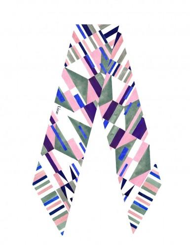 Burano blue sash scarf - flat