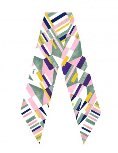Burano yellow sash scarf - flat