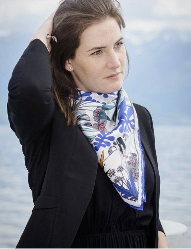 Tangalle blue square scarf - neck