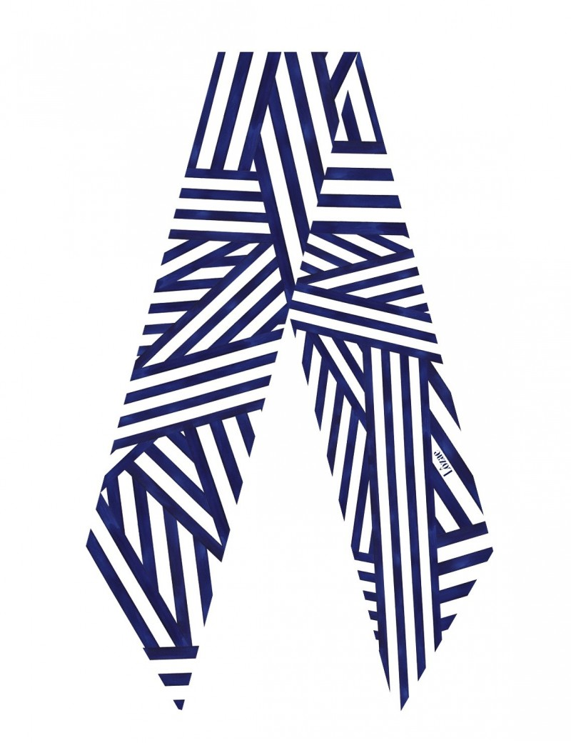 Ouessant navy blue sash scarf - flat