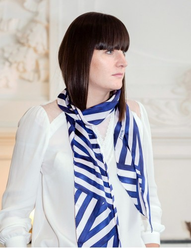 Ouessant navy blue sash scarf - neck