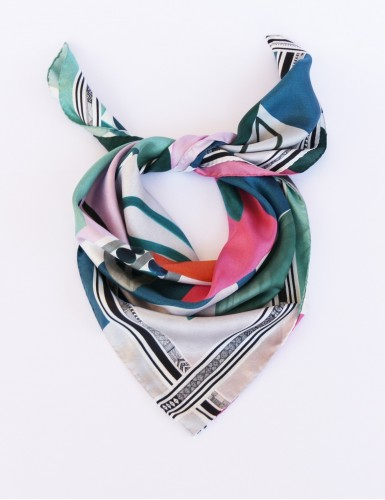 Tulum green Square Scarf - pack