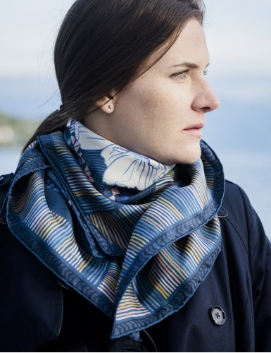 Maehama blue square scarf - neck