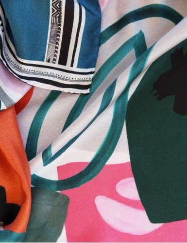Tulum green Square Scarf - detail