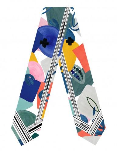 Tulum Blue sash scarf - front