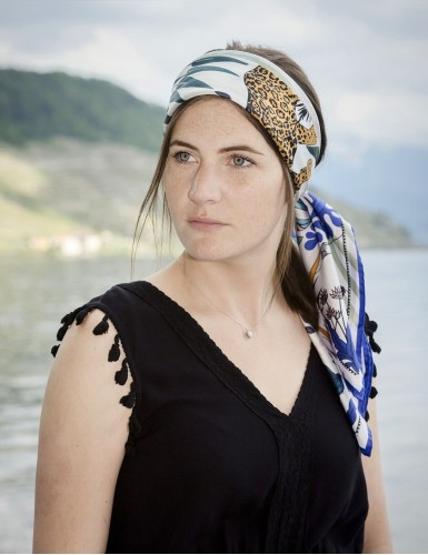 Tangalle blue square scarf - head