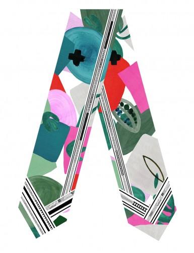 Tulum green sash scarf - flat