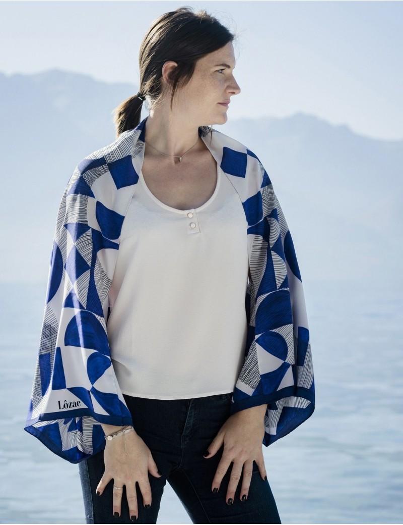 Foulard magique Santorin bleu - worn