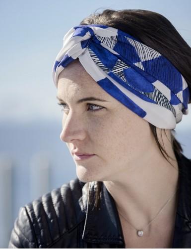 Foulard magique Santorin bleu - head