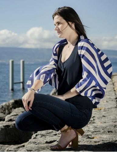 Foulard magique Ouessant bleu marine - worn