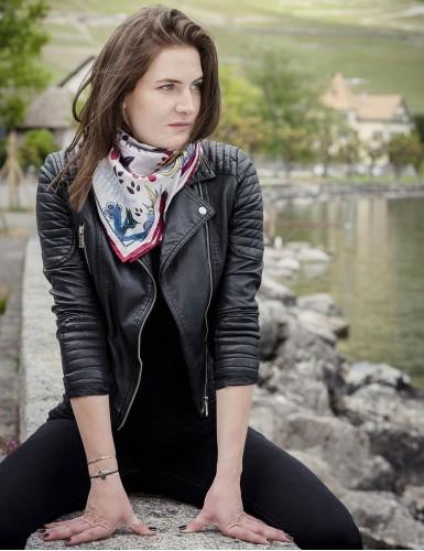 Tangalle garnet square scarf - neck