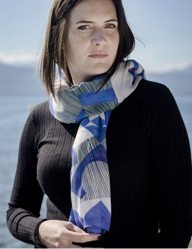 Étole Santorin bleu - neck