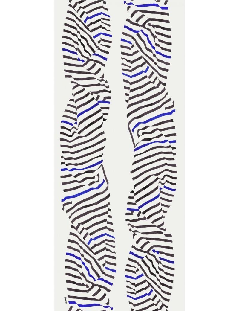 Foulard homme Carnac noir et bleu - flat